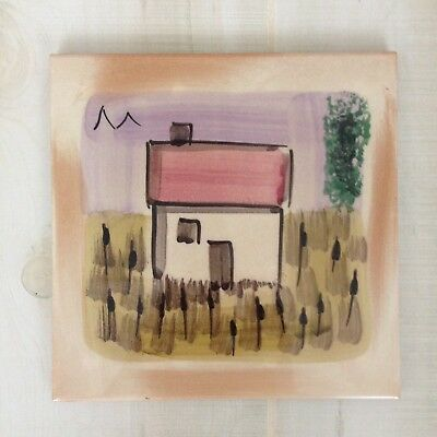"""Decorative 8"""" Tile Hand Painted Cottage House Artist Signed TRIVET Made In ITALY"""