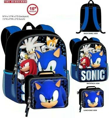 2 Piece Set Sonic the Hedgehog Deluxe School Backpack Insulated Lunch box