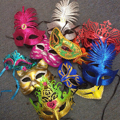Lot of 50 Mixed Costume Mask Masquerade Mardi Gras Venetian Wedding Quince Party