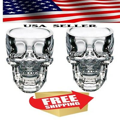 Crystal Glass Vodka Whiskey Head Shot Cup Bar Ware Cool Shot Glasses Skull NEW