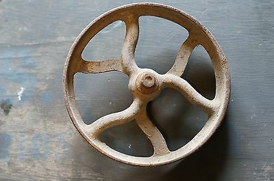 Large Antique rustic cast iron wheel pulley farm barn find garden primitive 8""