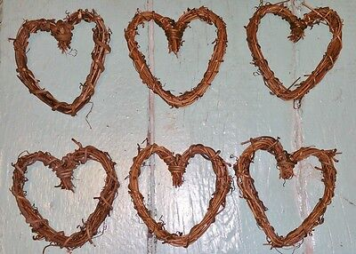 Small Heart Shaped 3 Inch Grapevine Wreaths Lot of 6 Natural Hearts