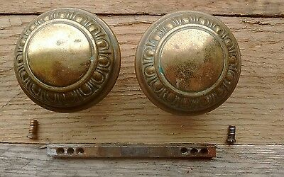 Antique Vintage Victorian Egg and Dart Brass Door Knob Set - Spindle Set Screws