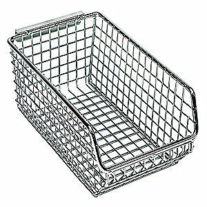 QUANTUM STORAGE SY Wire Hang and Stack Bin,7-1/4 x 4-1/4 x 3 In., QMB520, Chrome