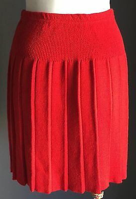 VINTAGE Red Girls  MARQUISE Pleat Wool Elasticised Waist Skirt Size 7