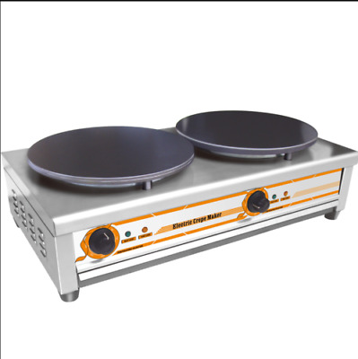 Pancake Pan Double Electric Griddle Machine Commercial Crepe Maker 220V 5.5KW