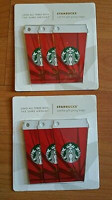 Starbucks lot of 6 limited edition 2014 Christmas Starbucks Cards New