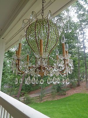 Vintage Beaded Hot Air Balloon Shape Chic Shabby French Chandelier~Over the top