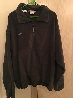 Men's COLUMBIA Polyester Fleece Half Zip Unlined Jacket Solid Dark Black Size XL