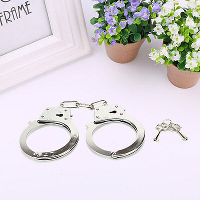 Metal Handcuffs Police Halloween Tricks Pranks Cosplay Roleplay Fool's Day