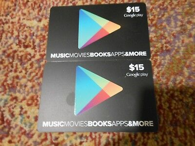 TWO $15 Google Play Gift Cards -$30 TOTAL -Actual cards SHIPPED SAME DAY #21- 25