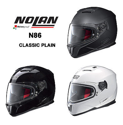 Nolan N86 Motorcycle Full Face Helmet - Classic Plain Colours - Made In Italy