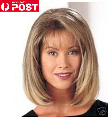 Women Blonde Medium Straight Bangs Wig Cosplay Synthetic Hair Wigs AU Stock New