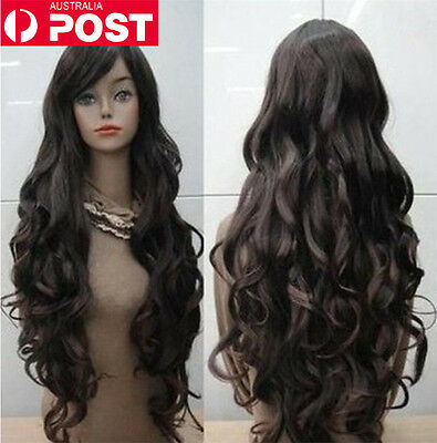 Fashion Women Black Long Wavy Curly Halloween Cosplay Party Heat-resistance Wigs