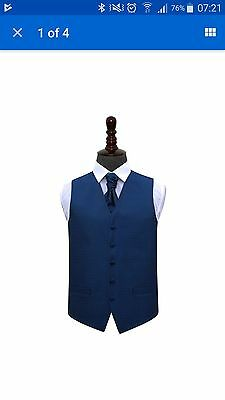 New Dqt Greek Key  Mens Wedding Waistcoat & Cravat Set - Royal Blue