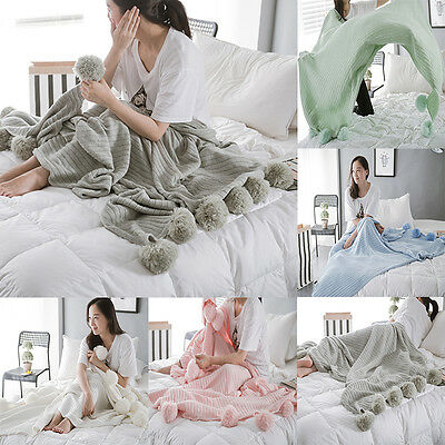 Cotton PomPom Knit Throw Blanket Home Sleeping Bed Spread Blanket Decor
