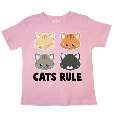Inktastic Cats Rule With Cat Heads Toddler T-Shirt Pets Feline Pet Kitties Kitty