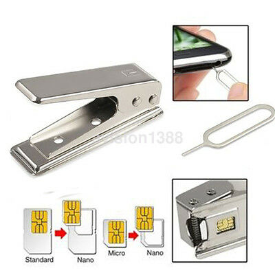 New Standard Micro To Nano SIM Card Metal Cutter +2 Adapters For iPhone5 5th US