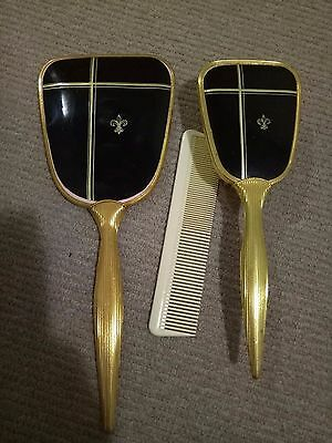 Vintage Brush Set Black And Gold