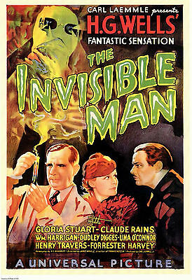 The Invisible Man 1933 Vintage Old Sci-Fi Movie Poster Art Print 36x24inch