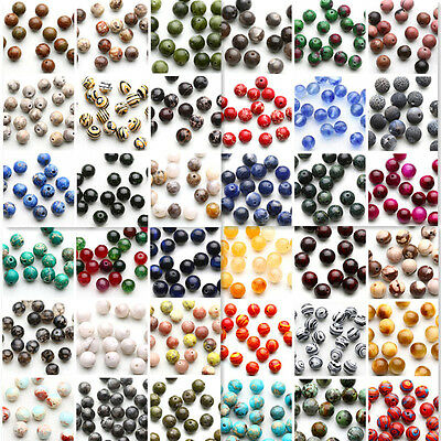 Wholesale Natural Gemstone Round Spacer Loose Beads Assorted Stones 4/6/8/10mm