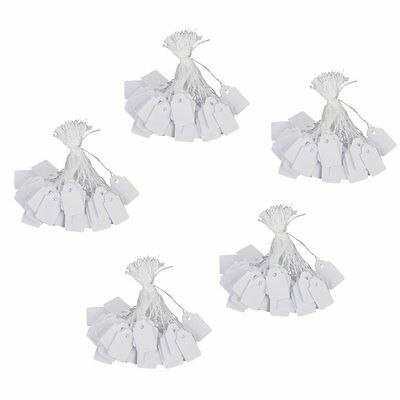 K9 Jewelry Clothes Label Tie String Price Tag 13 x 26mm Pack of 500Pcs White