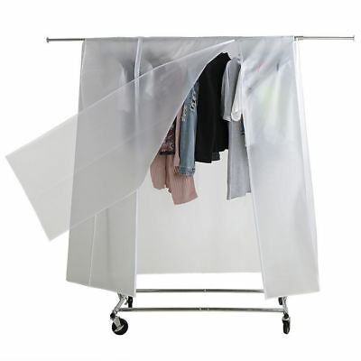 6ft Transparent Clothes Cover Garment Rail Wardrobe Cover with Strong Double Zip