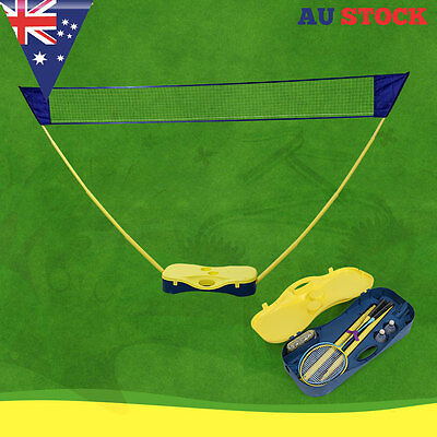 Portable Volleyball Badminton Net Battledore Set Sports Outdoor With Box Stand