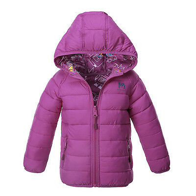 Girls Hooded Jacket Reversible Fashion Padded Coat Children Winter Outerwear