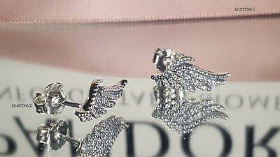 New Authentic Pandora Majestic feathers Earrings/studs S925 ALE #290581CZ