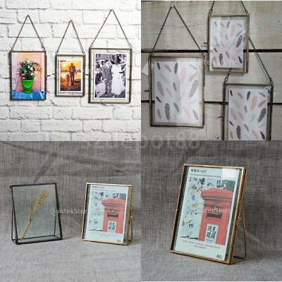93f23bc9dd5 Antique Brass Glass Picture Photo Frame Hanging Freestanding Retro Portrait