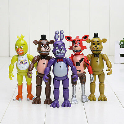 "Hot Set of 5PCS Fnaf Five Nights at Freddy's 6"" Action Figures With Light Toys"