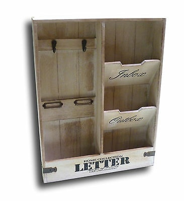 wand organizer holz mit schl sselbrett brief ablage b ro haushalt vintage retro eur 19 99. Black Bedroom Furniture Sets. Home Design Ideas