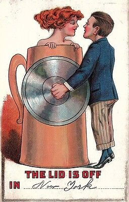 Vintage Comic Postcard  The Lid Is Off Used