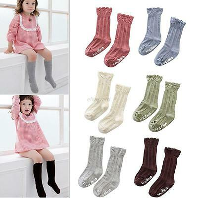 Baby Kids Boys Girls Knee High Socks Toddler Cotton Lace Stockings Tights 0-4T