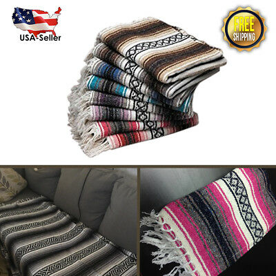 Authentic Mexican Falsa Woven Hand Made Blanket for Yoga, Throw Rug, Couches