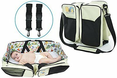 The Original Lullypop Baby 3 in 1 Cream Color Diaper Bag - Travel Bassinet - ...