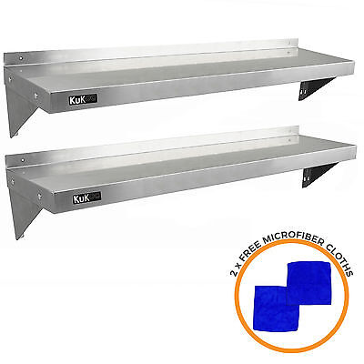 2 x Commercial Catering Stainless Steel Shelves Kitchen Wall Shelf Metal 1400mm