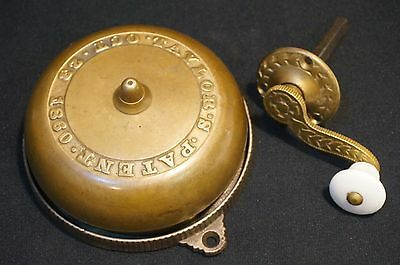 Antique Brass & Cast Iron Door Bell Taylor's Pre Civil War Patent 1860 w/ Crank
