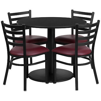 36'' Round Black Laminate Table Set with 4 Ladder Back Metal Chairs