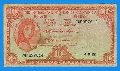 1968 Central Bank of Ireland 10 Ten Shillings Note P-63a World Currency Banknote
