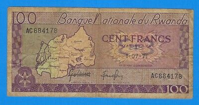 1971 Rwanda 100 Cent Francs Note P-8c World Currency Banknote