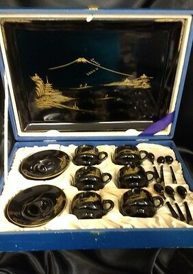 Black Asian Japanese Tea Set for 6 With Tray and Case, Cups, Saucers & Spoons