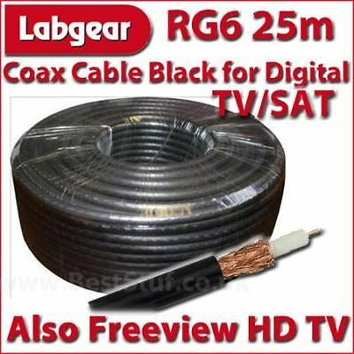 Labgear 25m RG6 Coax Cable for Digital Freeview TV SAT
