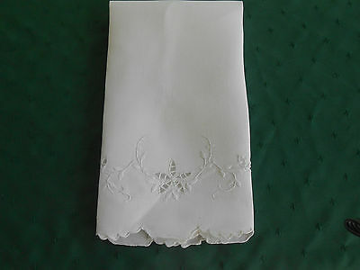 Lovely White Damask Towel With Open Work And Hand White Work Embroidery, Cir1920