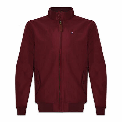 Lambretta Mens Burgundy ShowerProof Classic Harrington MOD Scooter Jacket Coat