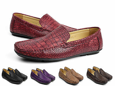 Mens Slip On Crocodile Pattern Loafers Driving Shoes Casual Smart Moccasin Size