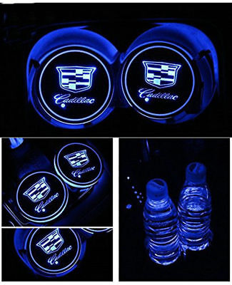 LED Logo Lamp Car Cup Holder Mat Pad Atmosphere Light For Cadillac USB Charging