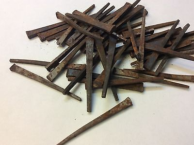 "VIntage ANTIQUE IRON FLAT SQUARE HEAD NAILS PARTS REPAIR 2.5"" long lot of 50"
