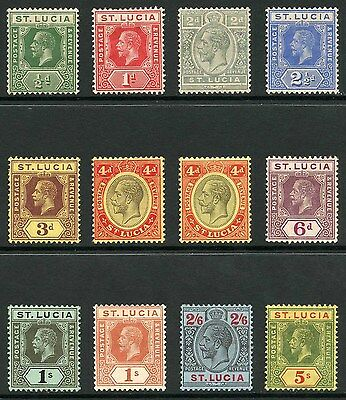 St Lucia SG78/88 1912-21 KGV Set of 11 with Extra 4d Wmk Mult Crown CA M/M